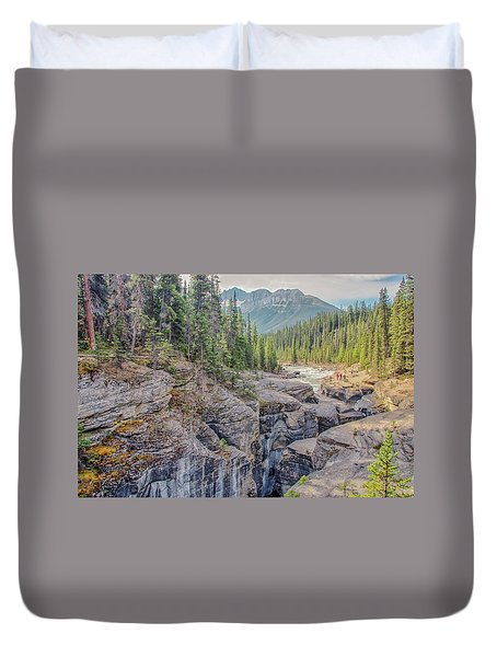 Duvet Cover featuring the photograph Mistaya Canyon by Jim Dollar