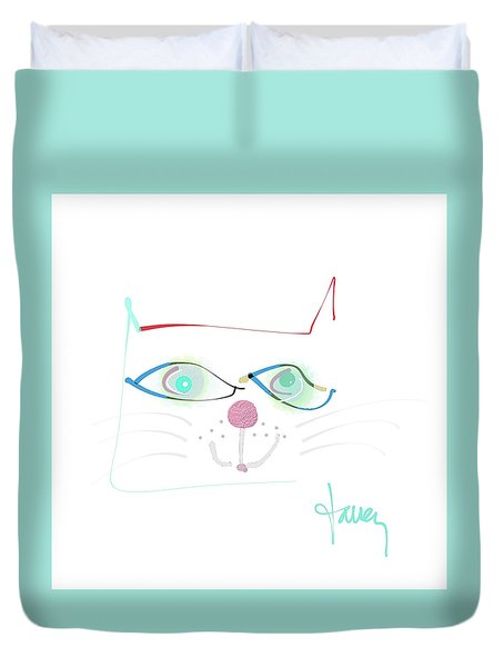 Duvet Cover featuring the mixed media Mister Mischief by Larry Talley