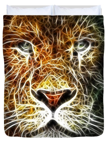 Duvet Cover featuring the mixed media Mistical Lion by Paul Van Scott