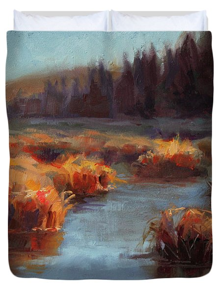 Misty Autumn Meadow With Creek And Grass - Landscape Painting From Alaska Duvet Cover