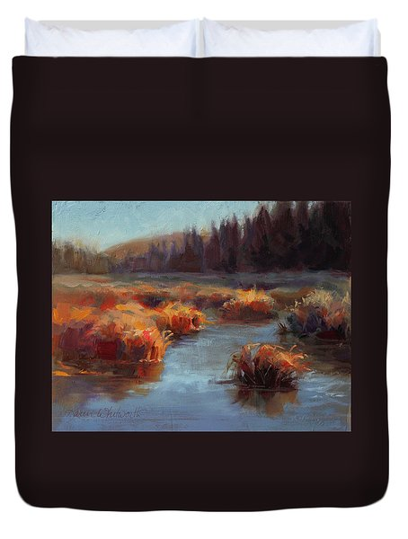 Duvet Cover featuring the painting Misty Autumn Meadow With Creek And Grass - Landscape Painting From Alaska by Karen Whitworth