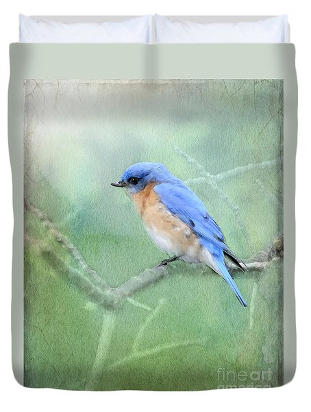 Duvet Cover featuring the photograph Misty Blue by Betty LaRue