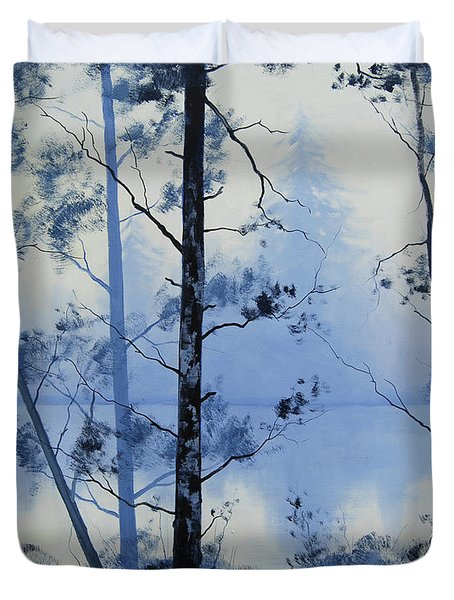 Misty Blue Lake Duvet Cover