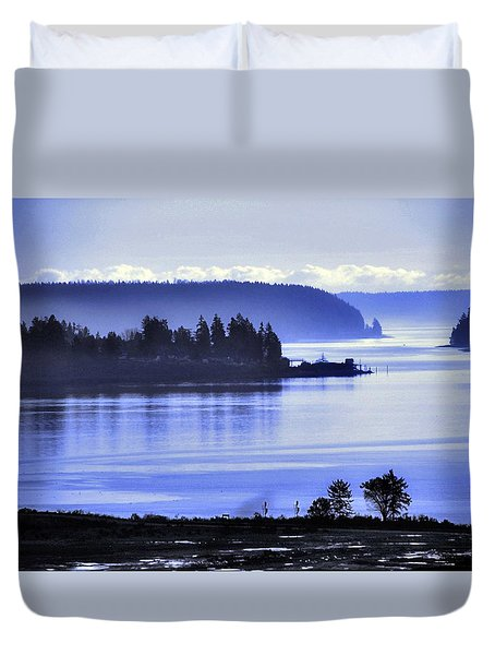 Duvet Cover featuring the photograph Misty Blue Steilacoom by Chris Anderson