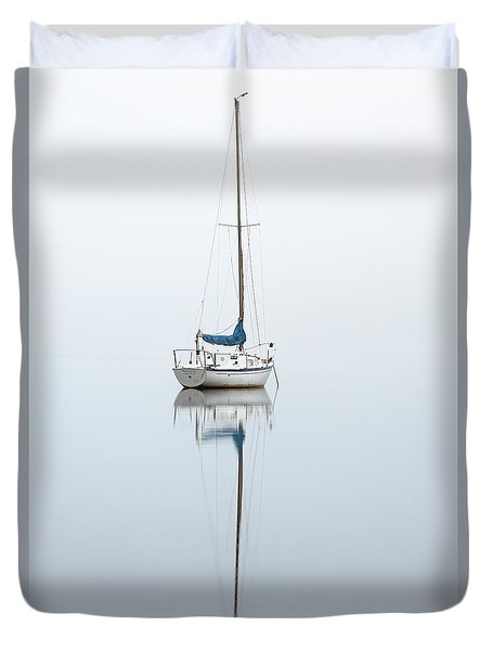 Duvet Cover featuring the photograph Misty Boat by Grant Glendinning