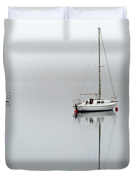 Duvet Cover featuring the photograph Misty Boats by Grant Glendinning