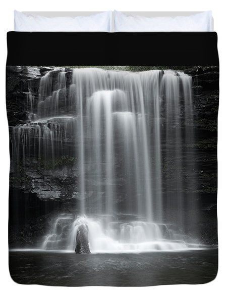Misty Canyon Waterfall Duvet Cover