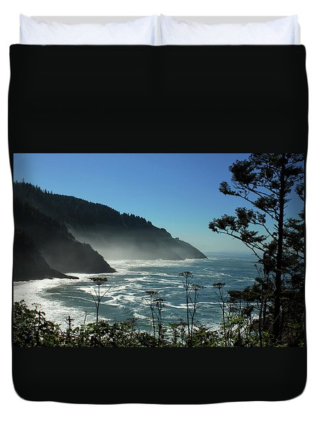 Misty Coast At Heceta Head Duvet Cover by James Eddy
