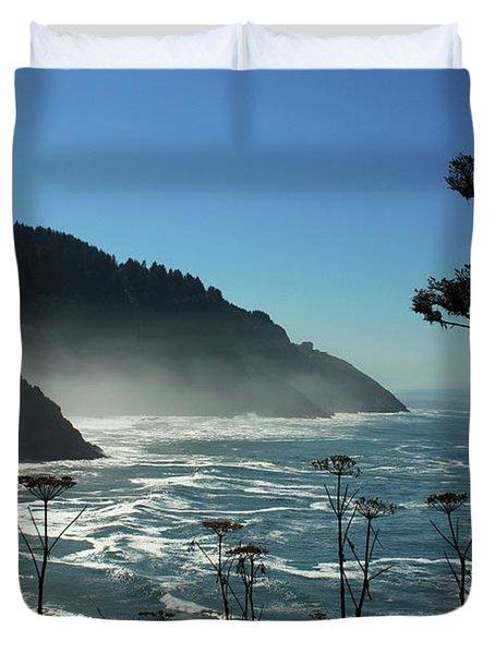 Misty Coast At Heceta Head Duvet Cover