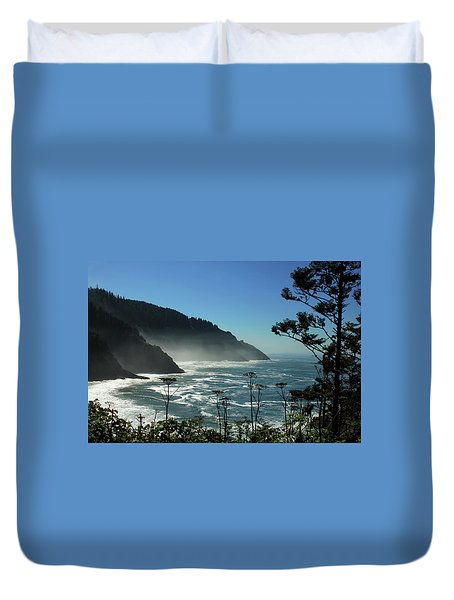 Misty Coast At Heceta Head Duvet Cover