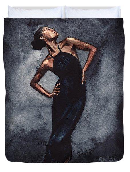 Misty Copeland Ballerina Dancer In A Black Dress Duvet Cover