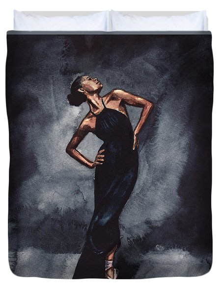 Misty Copeland Ballerina Dancer In A Black Dress Duvet Cover