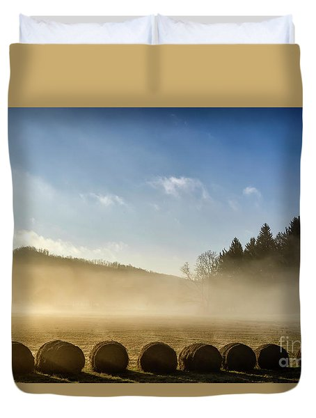 Duvet Cover featuring the photograph Misty Country Morning by Thomas R Fletcher