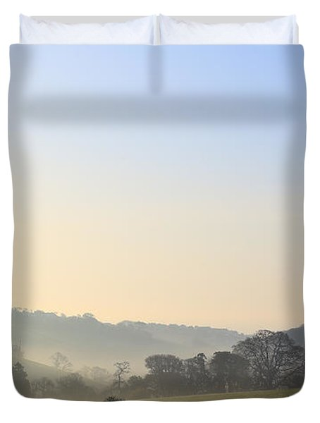 Misty Dawn Over The Cornish Countryside Duvet Cover