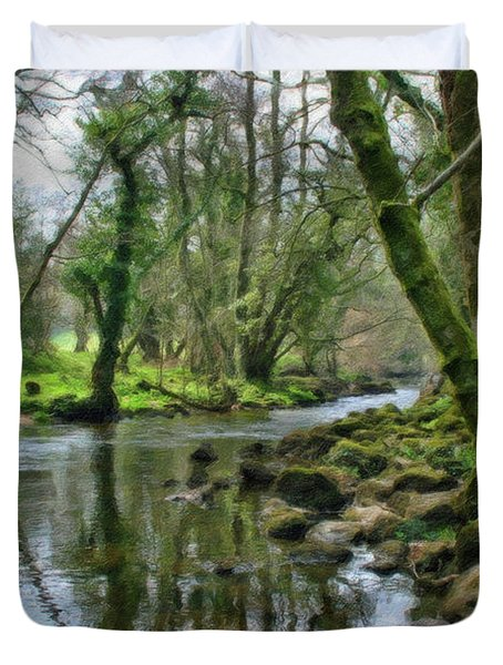 Misty Day On River Teign - P4a16017 Duvet Cover