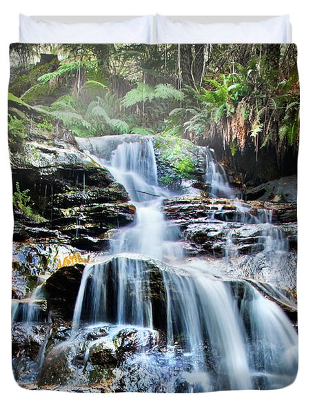 Duvet Cover featuring the photograph Misty Falls by Az Jackson