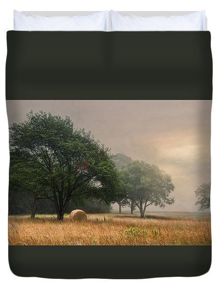 Duvet Cover featuring the photograph Misty Fields by Robin-Lee Vieira