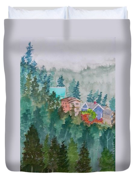 Misty Fog And Color Over Ketchikan Alaska Duvet Cover