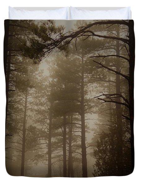 Misty Forest Morning Duvet Cover