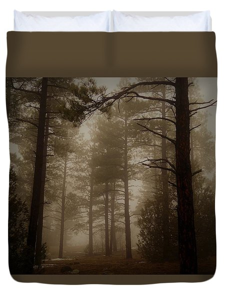 Misty Forest Morning Duvet Cover