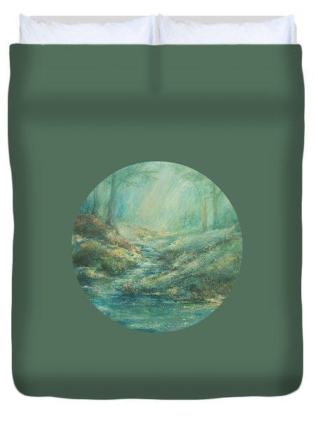 The Misty Forest Stream Duvet Cover