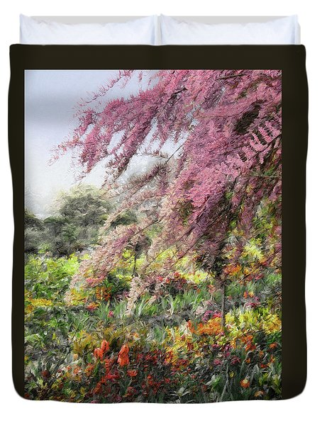 Duvet Cover featuring the photograph Misty Gardens by Jim Hill