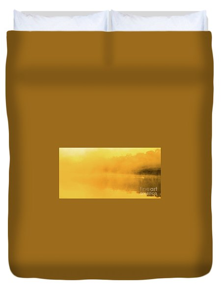 Duvet Cover featuring the photograph Misty Gold by Tatsuya Atarashi