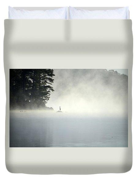 Misty Heron Duvet Cover