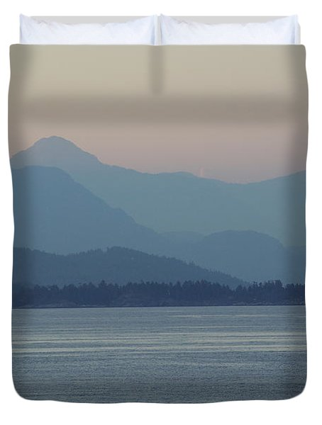 Misty Hills On The Strait Duvet Cover
