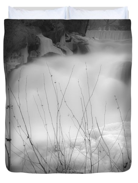 Misty Icy Waterfall Duvet Cover