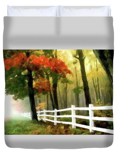 Duvet Cover featuring the painting Misty In The Dell P D P by David Dehner