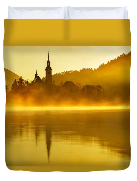 Duvet Cover featuring the photograph Misty Lake Bled At Sunrise by Ian Middleton