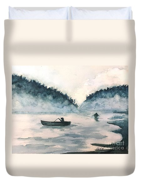 Duvet Cover featuring the painting Misty Lake by Lucia Grilletto