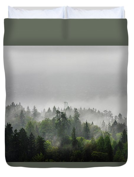 Misty Lions Gate View Duvet Cover by Ross G Strachan