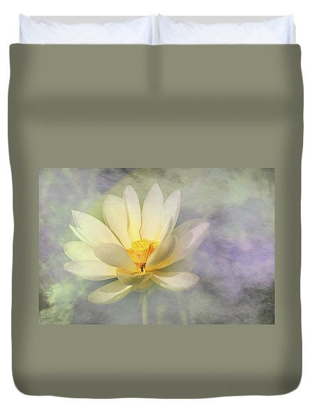 Duvet Cover featuring the photograph Misty Lotus by Carolyn Dalessandro