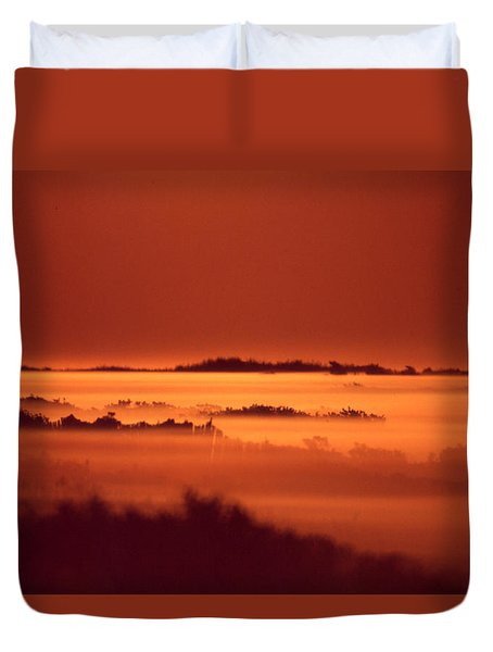 Misty Meadow At Sunrise Duvet Cover