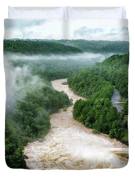 Misty Morning At Summersville Lake Dam Duvet Cover