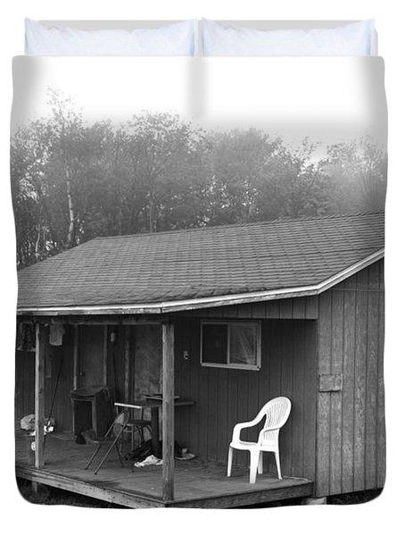 Misty Morning At The Cabin Duvet Cover