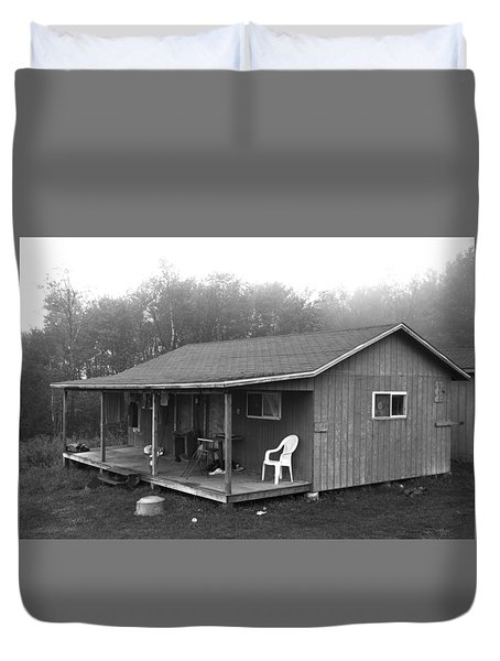 Misty Morning At The Cabin Duvet Cover