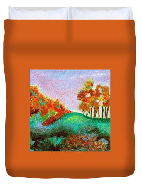 Duvet Cover featuring the painting Misty Morning by Elizabeth Fontaine-Barr