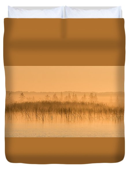 Misty Morning Floating Bog Island On Boy Lake Duvet Cover