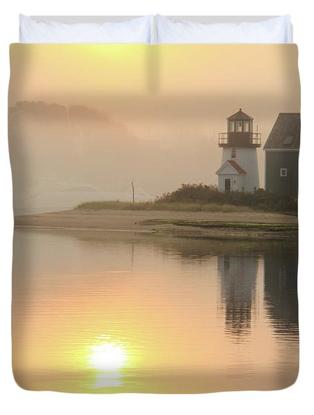 Misty Morning Hyannis Harbor Lighthouse Duvet Cover