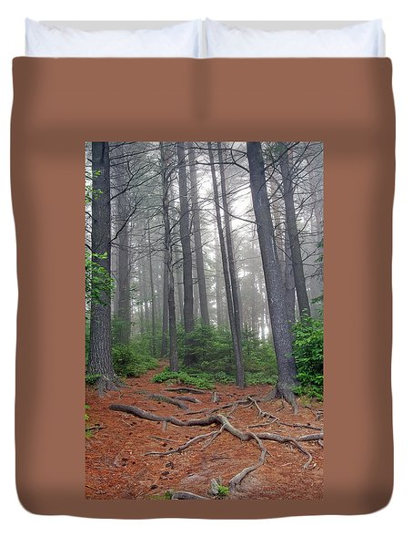 Misty Morning In An Algonquin Forest Duvet Cover