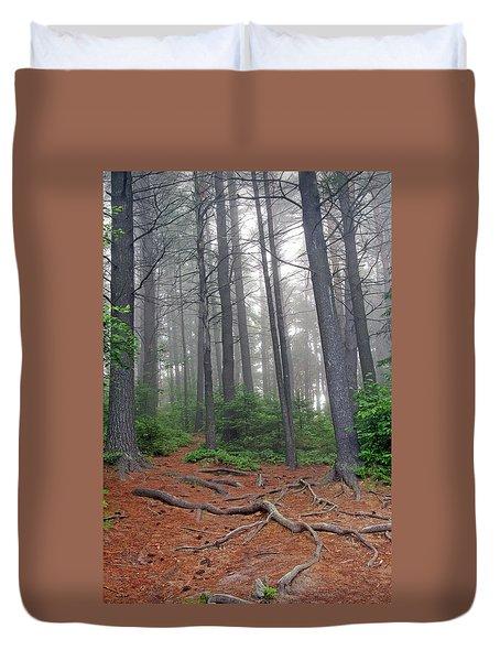 Misty Morning In An Algonquin Forest Duvet Cover