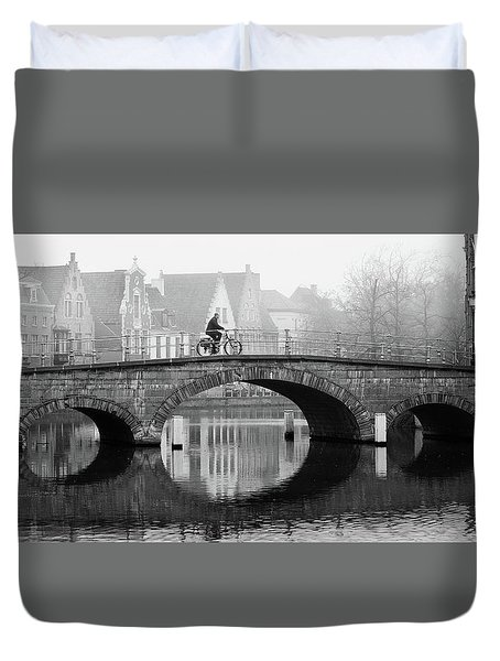 Duvet Cover featuring the photograph Misty Morning In Bruges  by Barry O Carroll