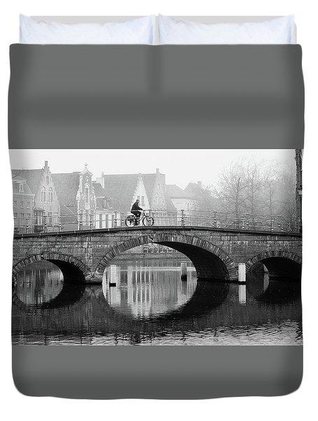 Misty Morning In Bruges  Duvet Cover