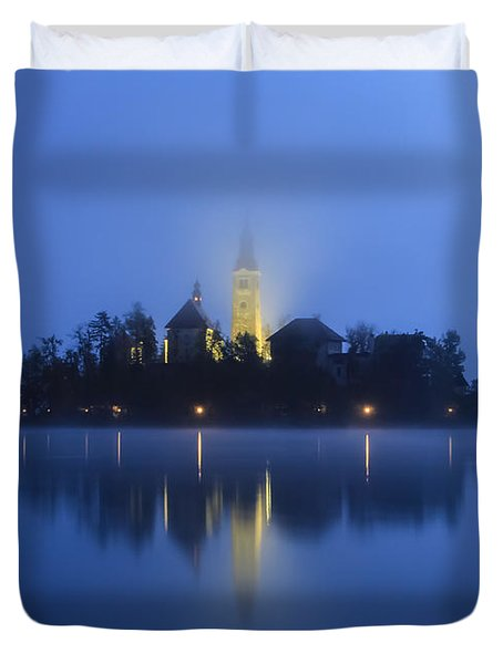Misty Morning Lake Bled Slovenia Duvet Cover
