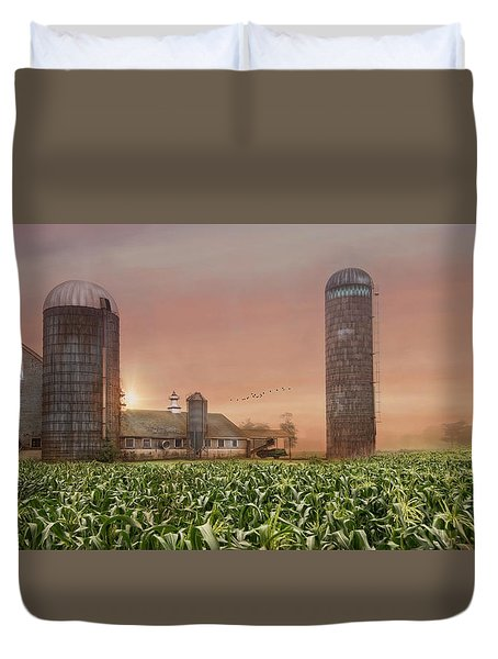 Duvet Cover featuring the photograph Misty Morning Maize by Robin-Lee Vieira
