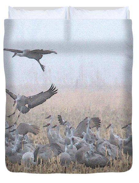 Misty Morning Nebraska Landing Duvet Cover