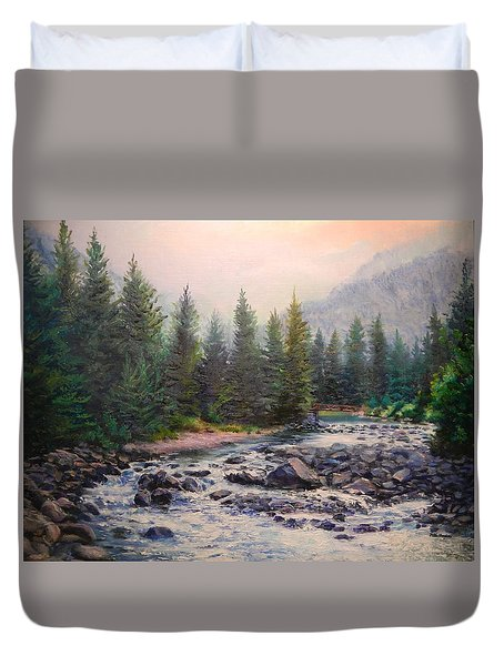 Misty Morning On East Rosebud River Duvet Cover